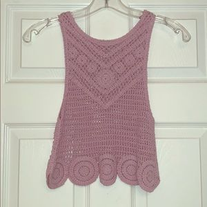 Lilac cropped and crochet tank top